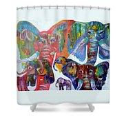 Elephant Family Shower Curtain