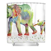 Elephant Family Watercolor  Shower Curtain by Melly Terpening