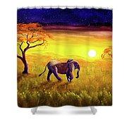Elephant In Purple Twilight Shower Curtain