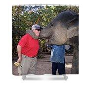 Elephant Kissing Man Holding Bananas Shower Curtain