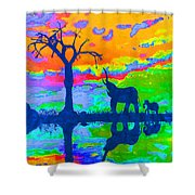 Elephant Reflections Shower Curtain
