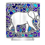Elephant Rocker Blue Magoo Shower Curtain