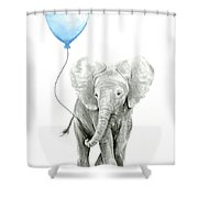 Elephant Watercolor Blue Nursery Art Shower Curtain