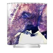 Elephant Watercolor Painting Shower Curtain