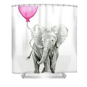 Baby Elephant Watercolor  Shower Curtain