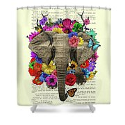 Elephant With Colorful Flowers Illustration Shower Curtain