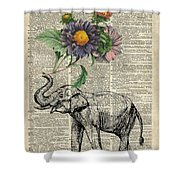 Elephant With Flowers Shower Curtain