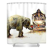 Elephant With Ganesha Shower Curtain