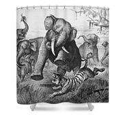 Elephants And Tiger, 1890 Shower Curtain