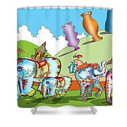 Elephants And Urns On A Hill Shower Curtain