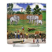 Elephants At The Zoo Shower Curtain