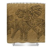 Elephants Three Shower Curtain