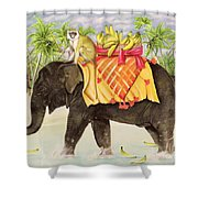 Elephants With Bananas Shower Curtain
