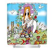 Elephants,cats And Rabbit Dreams Shower Curtain