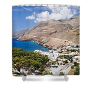 Elevated View Of The Hora Sfakion Shower Curtain