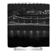 Elizabeth And Liberty Bridges Budapest Bw Shower Curtain