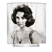 Elizabeth Taylor, Vintage Hollywood Legend By John Springfield Shower Curtain