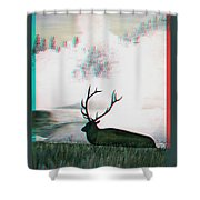 Elk - Use Red-cyan 3d Glasses Shower Curtain