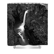Elk Falls In The Canyon Black And White Shower Curtain