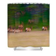 Elk On The Run Shower Curtain