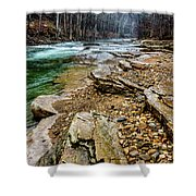 Elk River In The Rain Shower Curtain