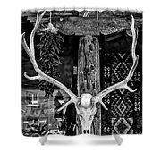 Elk Skull In Black And White Shower Curtain