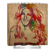 Ellie Goulding Watercolor Portrait Shower Curtain