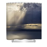 Elliott Bay Storm Clouds Ferry Shower Curtain