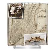 Ellis Island Vintage Map Child Immigrants Shower Curtain