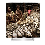 Elmina Fish Sellers Shower Curtain