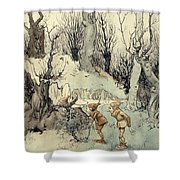 Elves In A Wood Shower Curtain by Arthur Rackham