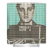 Elvis Army Mug Shot - Blue Shower Curtain