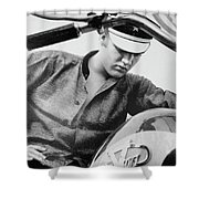 Elvis And His Bike Bw Shower Curtain