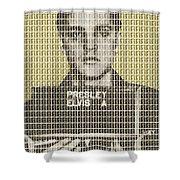 Elvis Army Mug Shot - Gold Shower Curtain