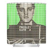 Elvis Army Mug Shot - Green Shower Curtain