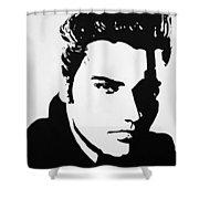 Elvis Black White Silhouette Shower Curtain