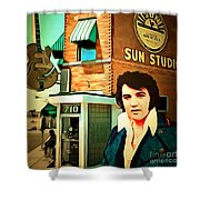 Elvis Presley The King At Sun Studio Memphis Tennessee 20160216 Square Shower Curtain