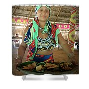 Embera Indian Lady Serving A Meal Shower Curtain