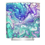 Emerald And Amethyst  Fragment 9.  Abstract Fluid Acrylic Painting Shower Curtain