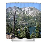 Emerald Bay With Mountain Shower Curtain