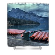 Emerald Lake Canoes Shower Curtain