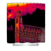 Emily Morgan Hotel With Fiery Sky Shower Curtain