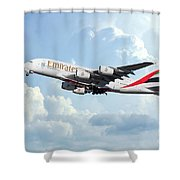 Emirates A380-800 A6-eer Shower Curtain