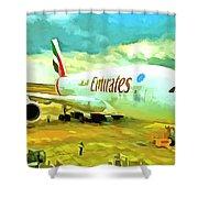 Emirates A380 Airbus Pop Art Shower Curtain