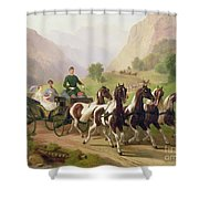 Emperor Franz Joseph I Of Austria Being Driven In His Carriage With His Wife Elizabeth Of Bavaria I Shower Curtain