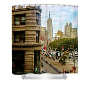 Empire State Building - Crackled View Shower Curtain