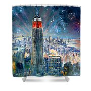 Empire State Building In 4th Of July Shower Curtain by Ylli Haruni