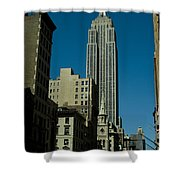 Empire State Building Seen From Street Shower Curtain