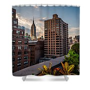 Empire State Building Sunset Rooftop Garden Shower Curtain