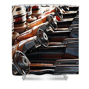 Empty Aligned Bumper Cars Shower Curtain